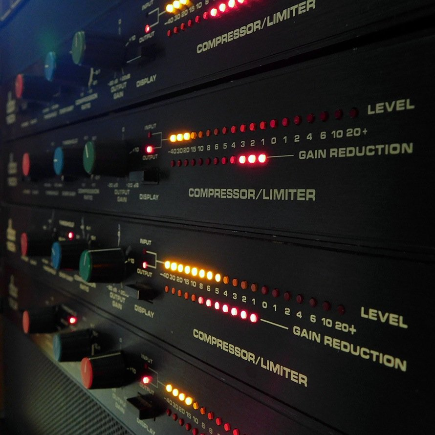 Closeup view of the dbx compressors.